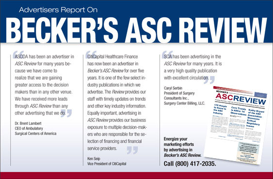 Advertiser's Report on Becker's ASC Review