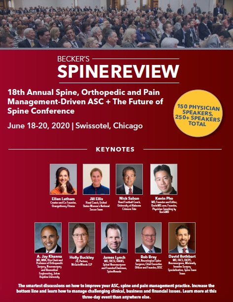 Becker's 18th Annual Spine, Orthopedic and Pain Management